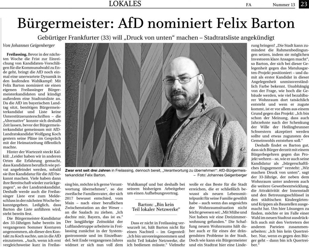 Bürgermeister - AFD nominiert Felix Barton - FA-RTgB vom 17.01.2020