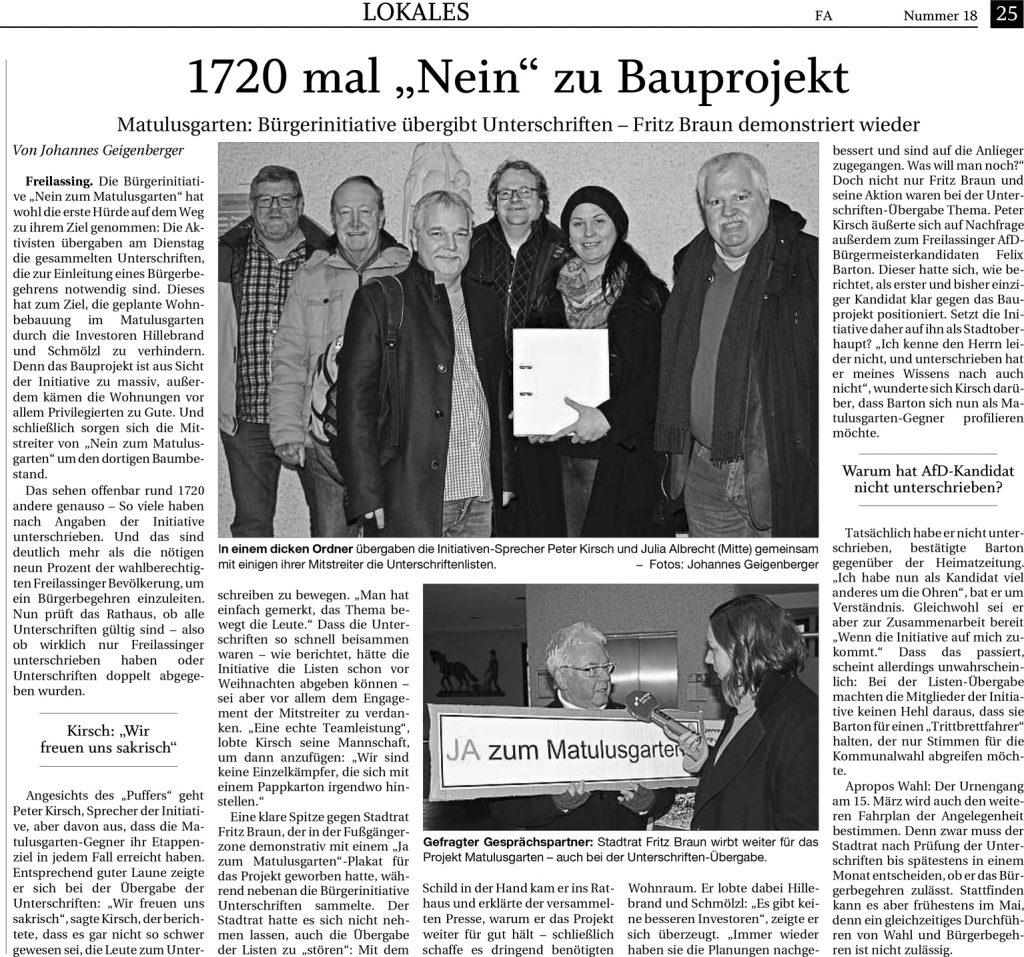 1720 mal Nein zum Bauprojekt - FA-RTgB 13.01.2020