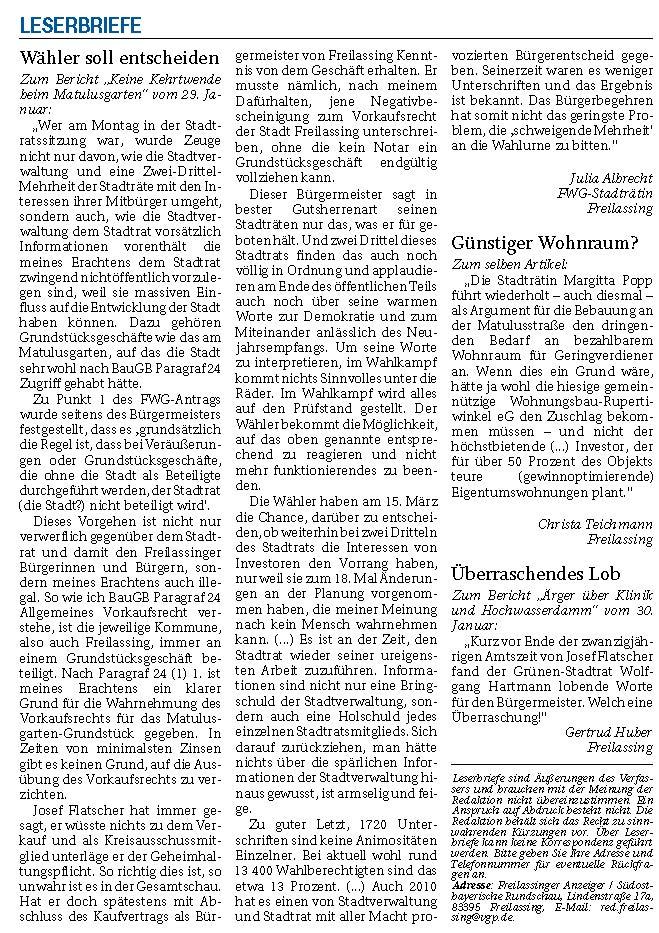 Leserbriefe Stadtratsitzung 31.01.2020 FA-RTgB