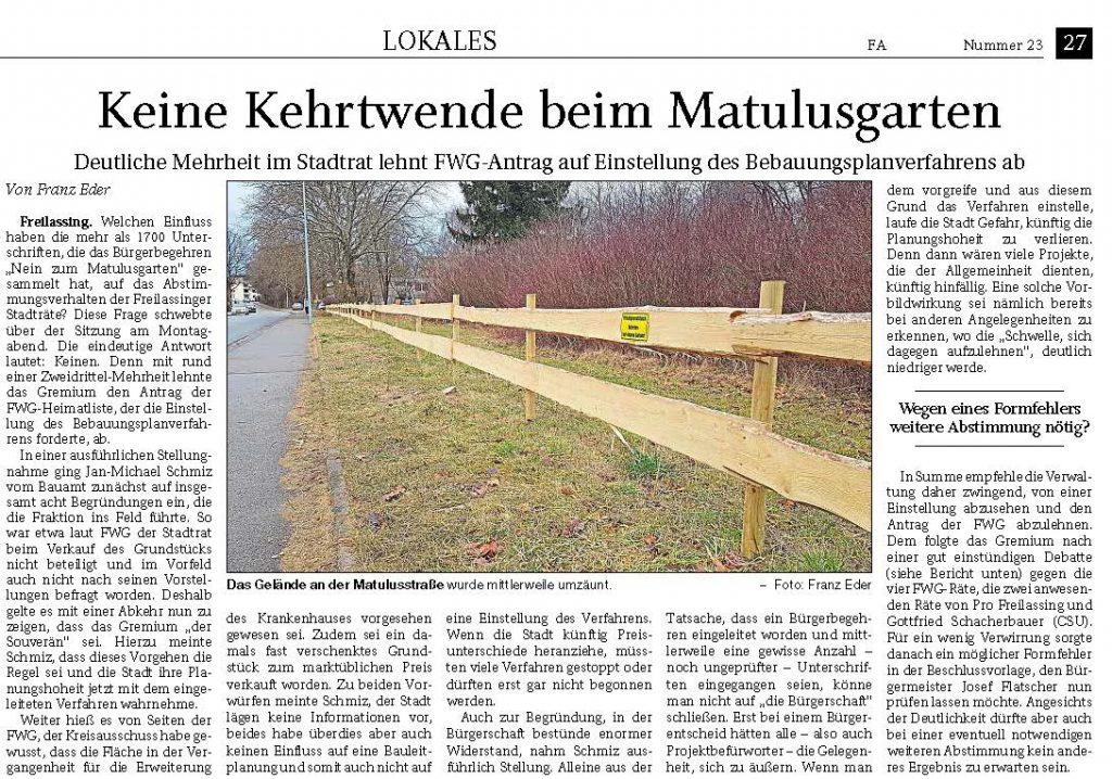 Keine Kehrtwende beim Matulusgarten - FA-RTgB 29.01.2020