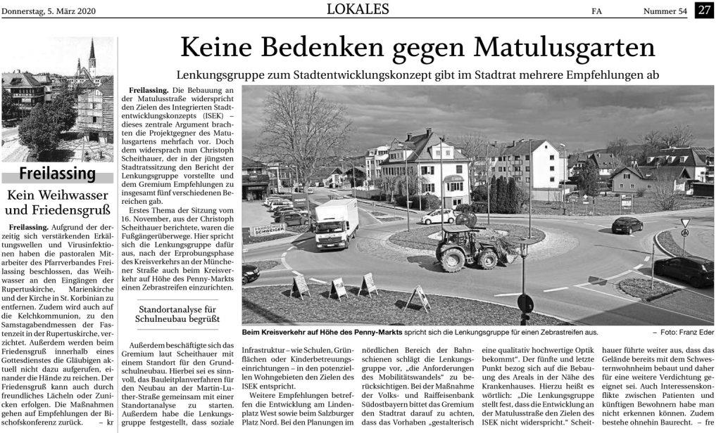 ISEK Lenkungsgruppe - Keine Bedenken gegen Matulusgarten vom 05.03.2020