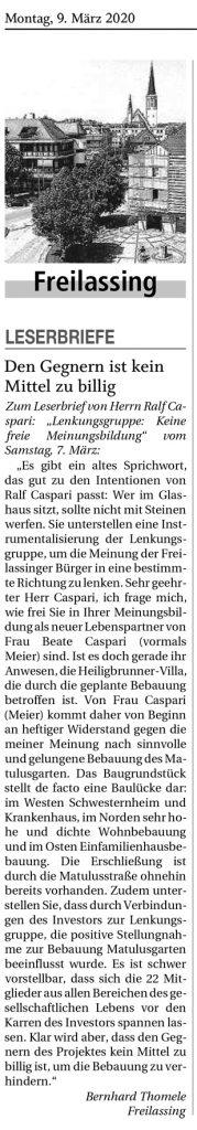 Reichenhaller Tagblatt - Leserbrief Thomele vom 09.03.2020