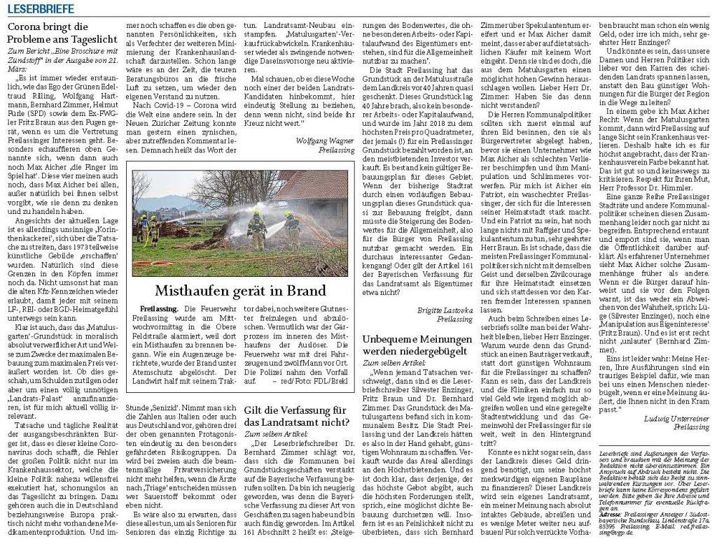 Eine Broschüre mit Zündstoff - RTgB Leserbriefe zum Thema vom 26.03.2020