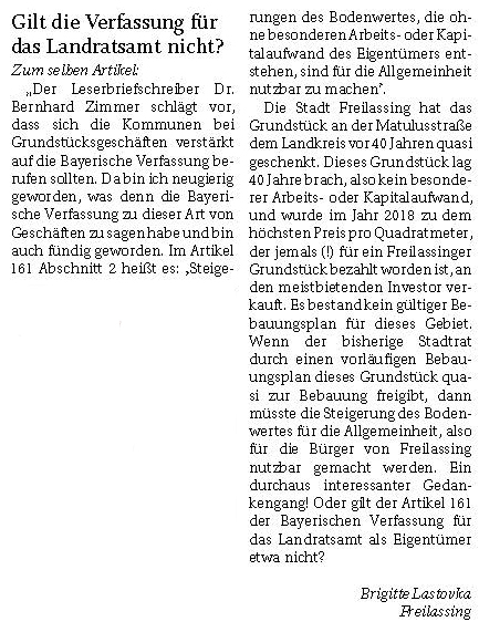 Gilt die Verfassung für das Landratsamt nicht? Leserbrief Brigitte Lastovka vom 26.03.2020