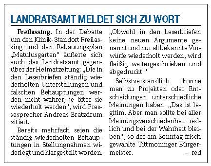 "Landratsamt meldet sich zu Wort - Diskussion ""Matulusgarten"" - 31.03.2020"