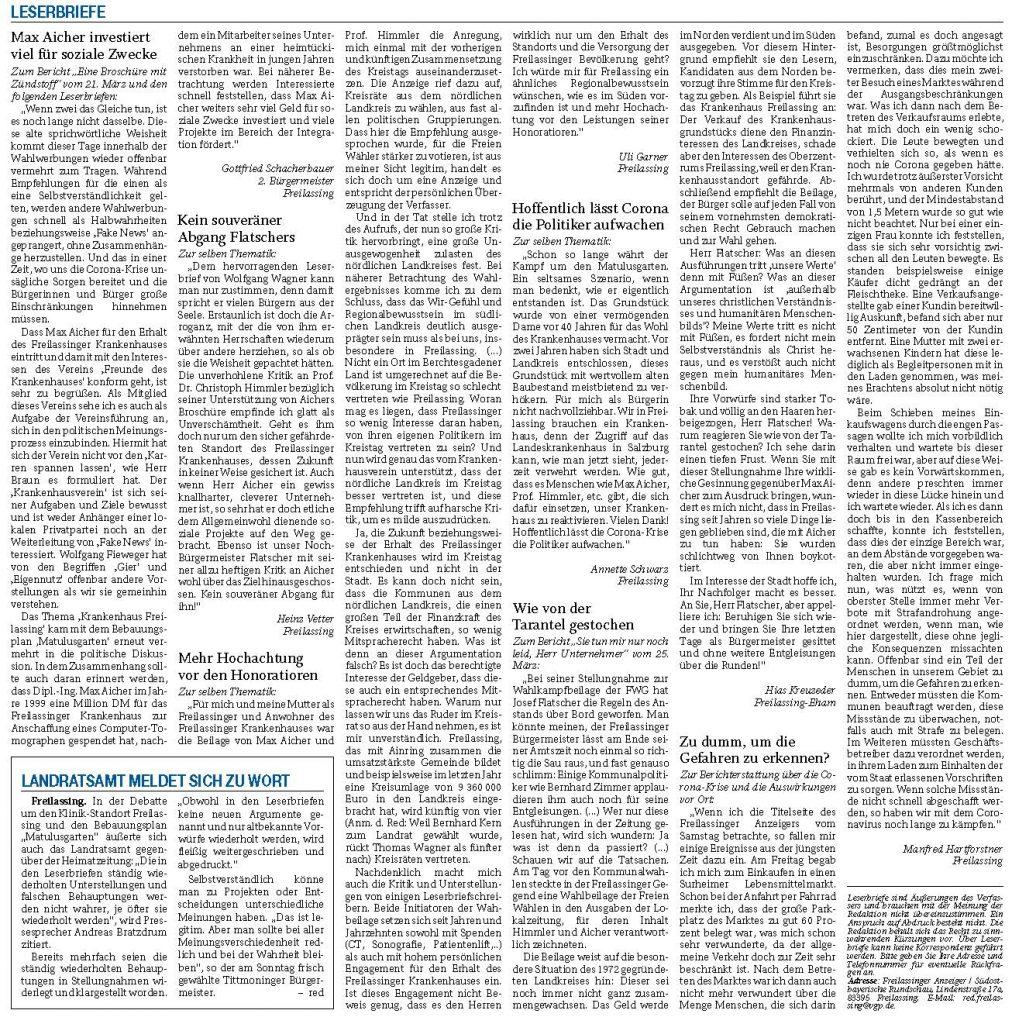 Leserbriefe im Freilassinger Anzeiger vom 31.03.2020
