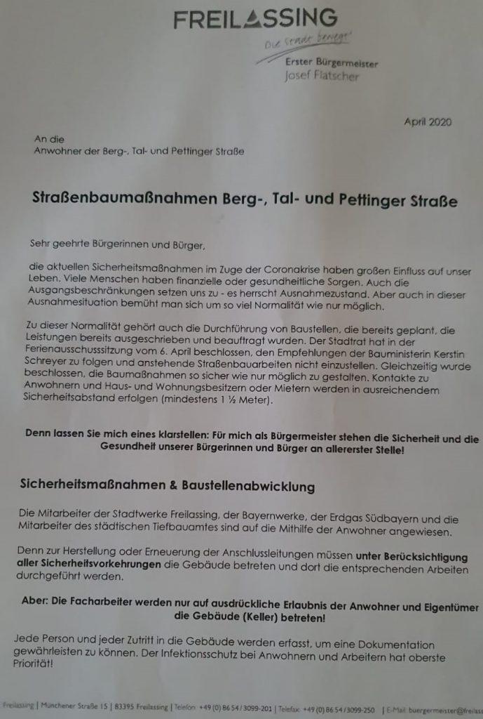 Brief der Stadt Freilassing - BGM Josef Flatscher 04.2020 - Seite 1