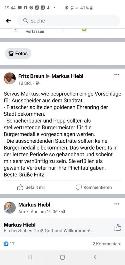 Ehrungen im Stadtrat von Freilassing - FB-Post Braun an Hiebl vom 08.04.2020
