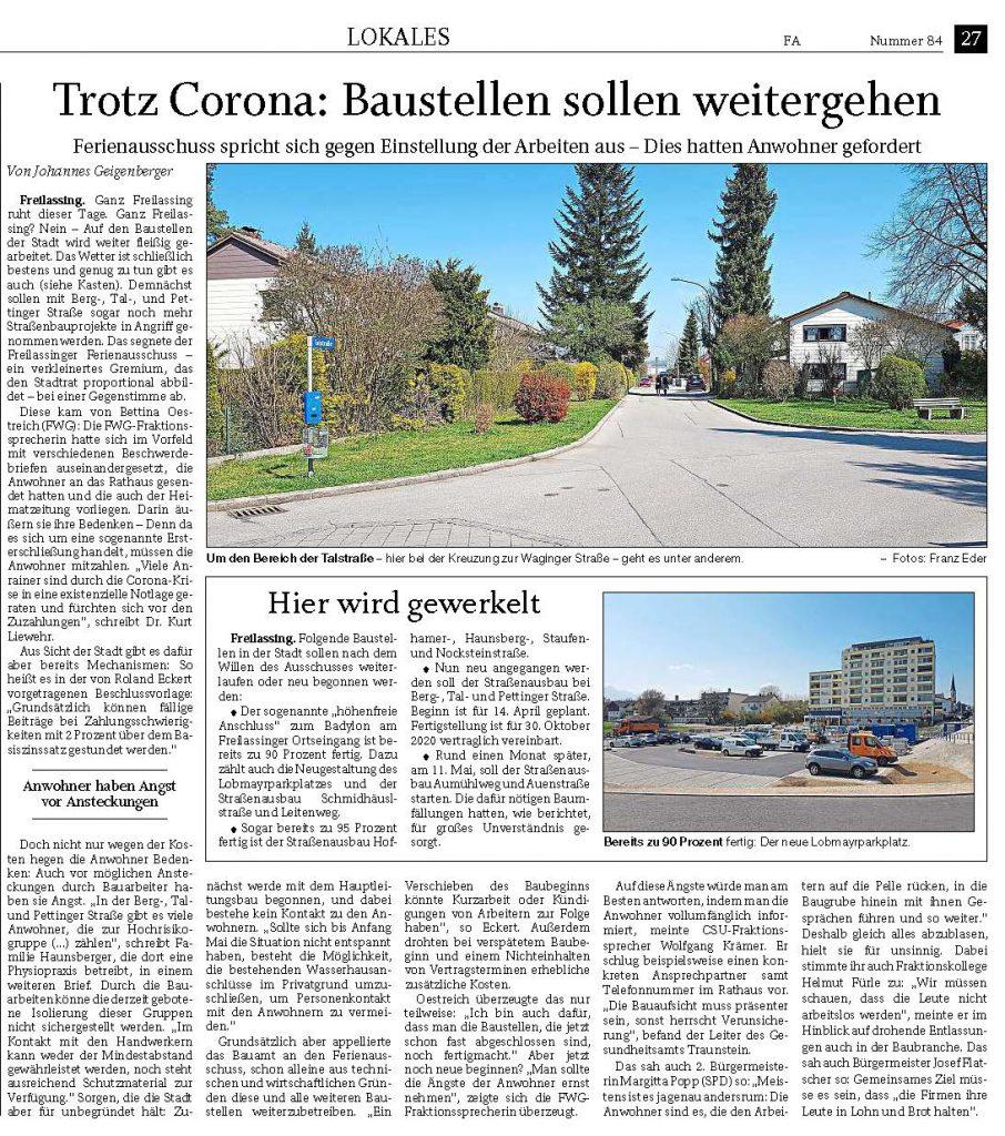 Trotz Corona - Baustellen sollen weitergehen - RTgB vom 09.04.2020