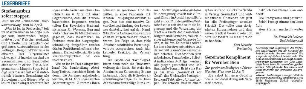 20200416 Strassenausbau sofort stoppen - LB Liewehr RTgB