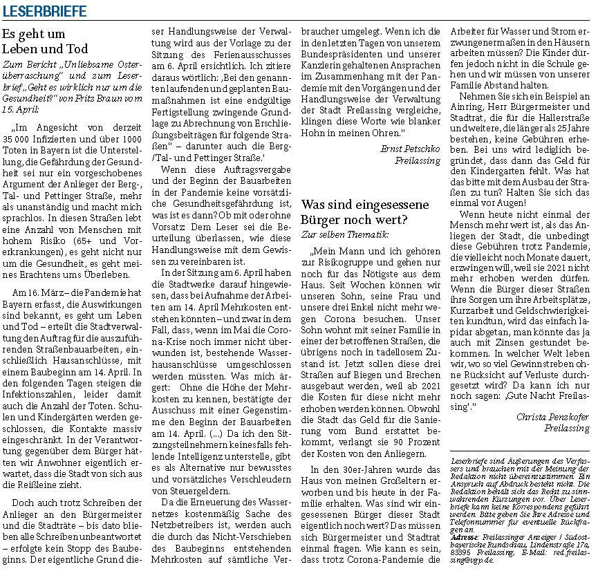 Leserbriefe Es geht um Leben und Tod - Was sind eingesessene Bürger noch wert Freilassinger Anzeiger 18.04.2020