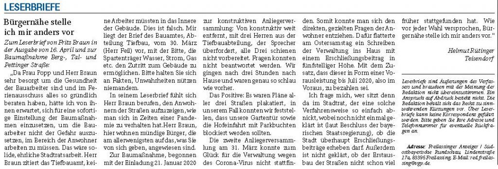 Bürgernähe stelle ich mir anders vor - LB Rüttinger - RTgB vom 20.04.2020