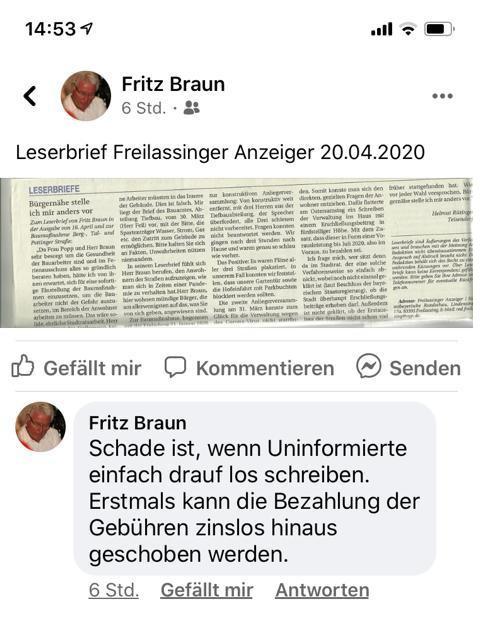 """Facebook-Kommentar Fritz Braun zum Leserbrief """"Bürgernähe stelle ich mir anders vor"""""""