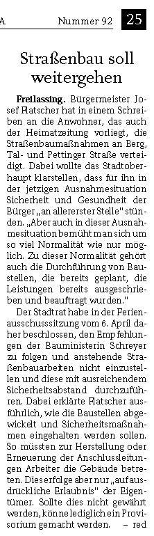 Josef Flatscher - Strassenbau soll weitergehen - Reichenhaller Tagblatt vom 21.04.2020