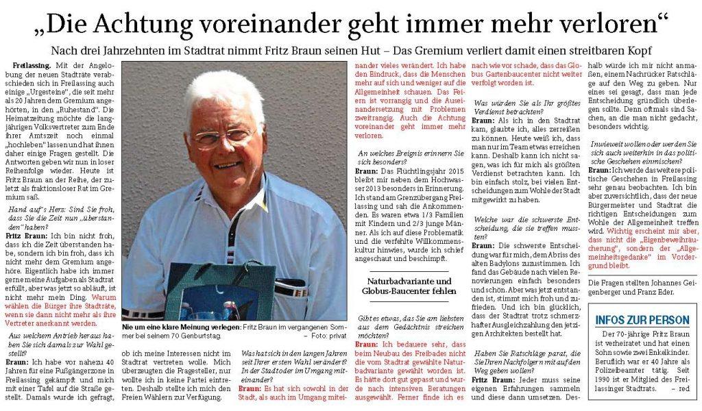 Fritz Braun - Die Achtung voreinander geht immer mehr verloren FA vom 23.04.2020